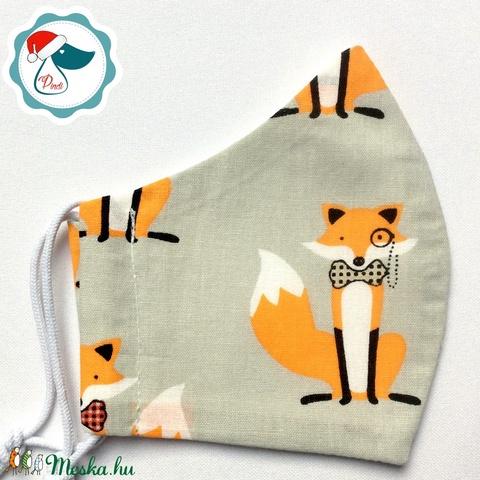 Egyedi rókás maszk - gyerek arcmaszk - textil szájmaszk - egészségügyi szájmaszk - mosható szájmaszk (Pindiart) - Meska.hu