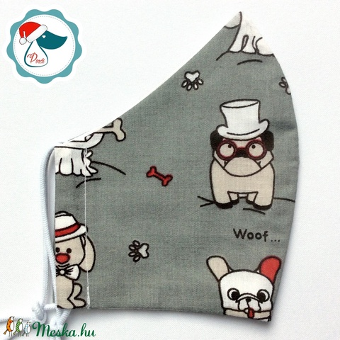 Egyedi kutyás arcmaszk - felnőtt női és teenager maszk - textil szájmaszk - egészségügyi szájmaszk (Pindiart) - Meska.hu