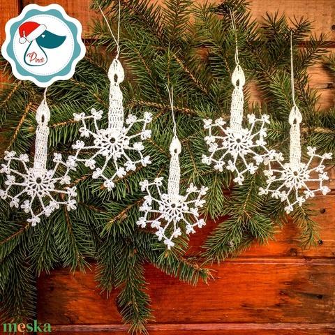 Egyedi 5db horgolt fehér gyertya -  karácsonyfa dísz - karácsonyi ajándék - Ablak dísz (Pindiart) - Meska.hu