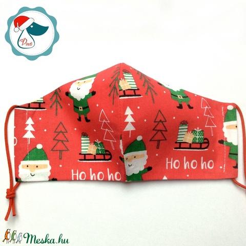Karácsonyi maszk - férfi arcmaszk -ezüst fenyőfa mintás - textil szájmaszk - egészségügyi szájmaszk (Pindiart) - Meska.hu