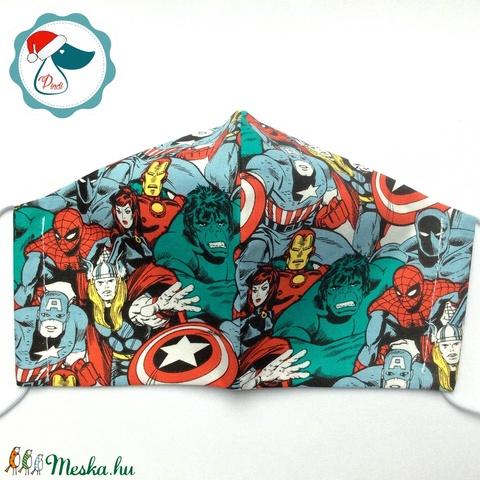 Marvel mintás prémium maszk - szuperhősök - felnőtt női és teenager arcmaszk - textil szájmaszk - egészségügyi szájmaszk - Meska.hu