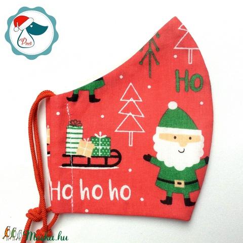 Egyedi karácsonyi mintás - kiskamasz szájmaszk - textil szájmaszk - egészségügyi szájmaszk - mosható szájmaszk (Pindiart) - Meska.hu
