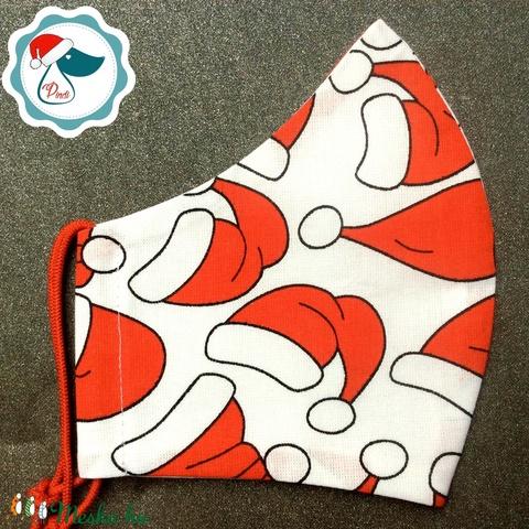 Karácsonyi mikulás sapkás maszk- felnőtt női és teenager szájmaszk - textil szájmaszk - egészségügyi szájmaszk (Pindiart) - Meska.hu