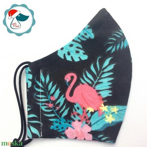 Egyedi flamingó mintás arcmaszk - felnőtt női és teenager maszk - textil szájmaszk - egészségügyi szájmaszk - Meska.hu