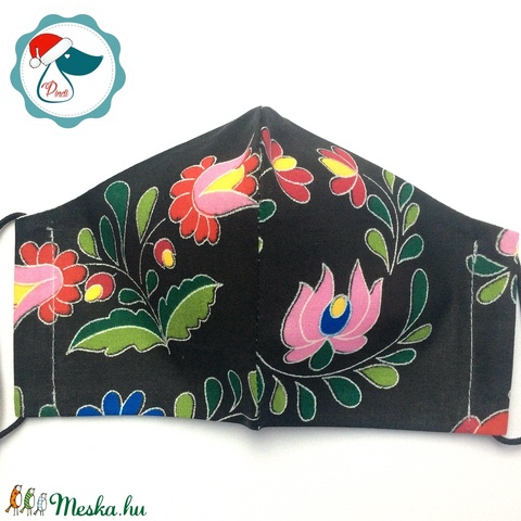 Egyedi kalocsai mintás arcmaszk - felnőtt női és teenager maszk - textil szájmaszk - egészségügyi szájmaszk - Meska.hu