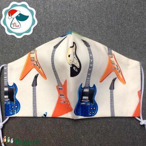 Egyedi gitáros maszk - felnőtt női és teenager arcmaszk - textil szájmaszk - egészségügyi szájmaszk (Pindiart) - Meska.hu