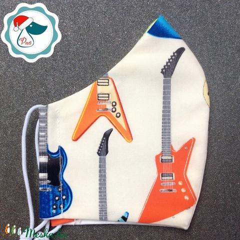 Egyedi gitáros maszk - felnőtt női és teenager arcmaszk - textil szájmaszk - egészségügyi szájmaszk - Meska.hu