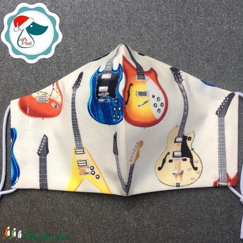 Egyedi gitáros maszk - prémium felnőtt női és teenager arcmaszk - textil szájmaszk - egészségügyi szájmaszk - Meska.hu