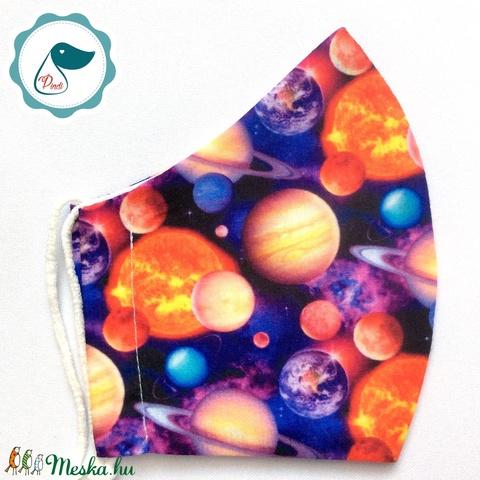 Egyedi bolygó mintás - kiskamasz - textil szájmaszk - egészségügyi szájmaszk - mosható szájmaszk (Pindiart) - Meska.hu
