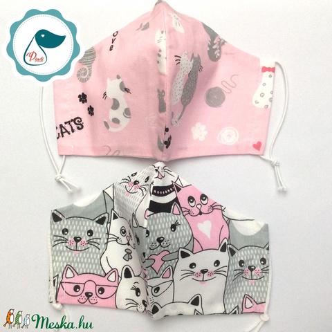 2 db cica mintás maszk - felnőtt női és teenager szájmaszk - textil szájmaszk - egészségügyi szájmaszk (Pindiart) - Meska.hu