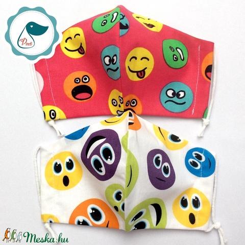 2 db smile mintás maszk - kiskamasz arcmaszk - textil szájmaszk - egészségügyi szájmaszk - mosható szájmaszk - Meska.hu