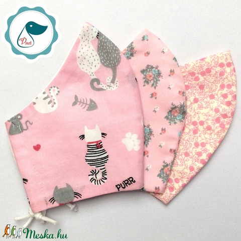 3 db cicás,virágos maszk - felnőtt női és teenager szájmaszk - textil szájmaszk - egészségügyi szájmaszk (Pindiart) - Meska.hu