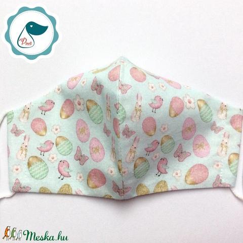 Húsvéti nyuszi,tojás mintás maszk  -  prémium női és teenager húsvéti arcmaszk - textil maszk - egészségügyi szájmaszk - Meska.hu
