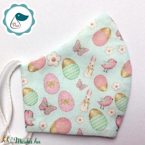 Egyedi nyuszis maszk - prémium gyerek textil arcmaszk - húsvéti maszk - egészségügyi szájmaszk - mosható szájmaszk - Meska.hu