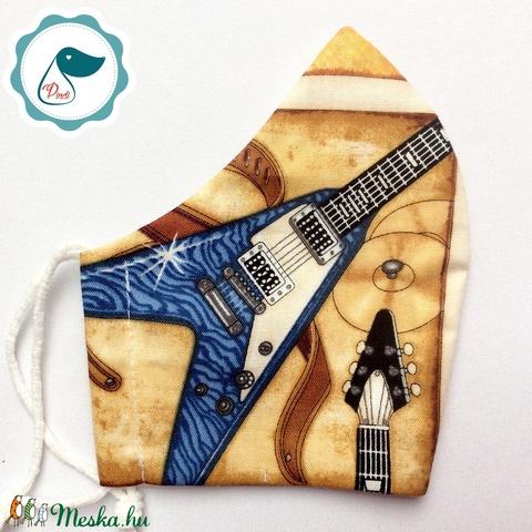 Egyedi gitáros arcmaszk - felnőtt női és teenager maszk - textil szájmaszk - egészségügyi szájmaszk - Meska.hu
