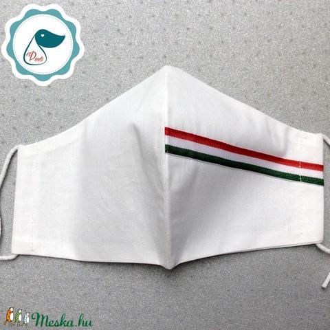 Férfi nemzeti szallagos fehér maszk -egyedi arcmaszk - textil szájmaszk - egészségügyi szájmaszk - mosható maszk - Meska.hu