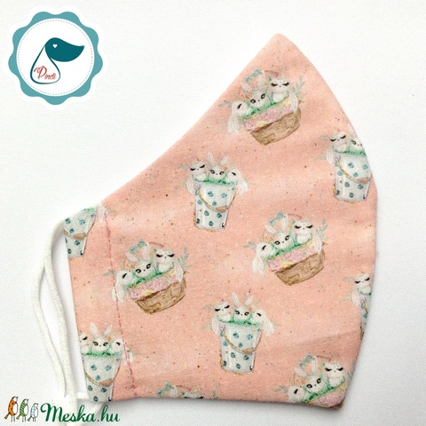 Egyedi cica mintás kiskamasz arcmaszk - textil maszk - egészségügyi szájmaszk - mosható szájmaszk - Meska.hu