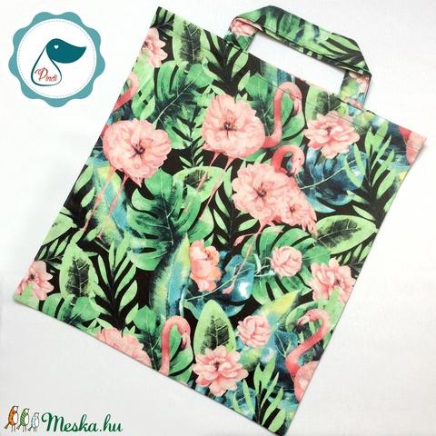 Szatyor - flamingós mintás textil táska - bevásárló táska  - egyedi bevásárló szatyor - textil szatyor - mosható szatyor - Meska.hu