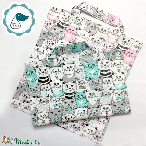 Szatyor - cicás mintás textil táska - bevásárló táska  - egyedi bevásárló szatyor - textil szatyor - mosható szatyor - Meska.hu