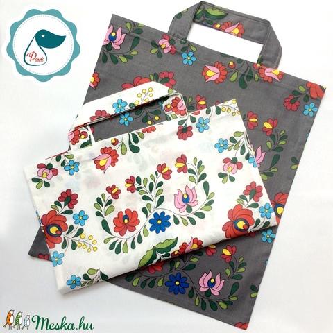 Szatyor - kalocsai mintás textil táska - bevásárló táska  - egyedi bevásárló szatyor - textil szatyor - mosható szatyor - Meska.hu
