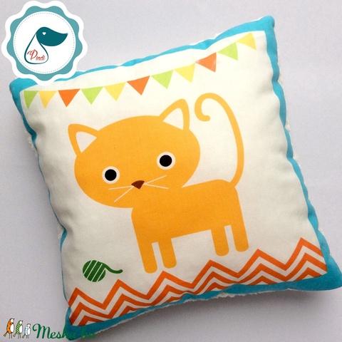 Gyerek cicás párna - egyedi mintás - kispárna - alvópárna - puha kispárna - Meska.hu