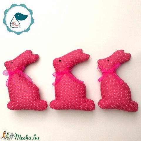 3 db Nyuszi - pink pöttyös egyedi tervezésű kézműves játék - textiljáték -  húsvéti nyúl         - Meska.hu