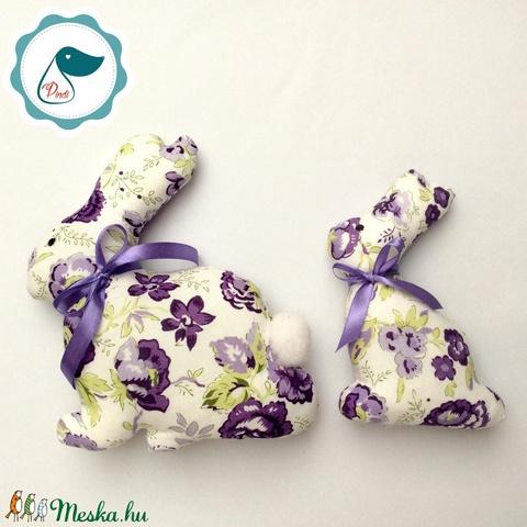 Nyuszi - lila virágos egyedi tervezésű kézműves játék - textiljáték -  húsvéti nyúl         - Meska.hu