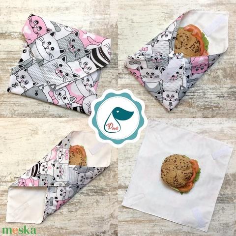 Uzsonna csomagoló - mintás szendvics csomagoló - újra szalvéta - Textil szalvéta - élelmiszer biztos újreszalvéta - Meska.hu