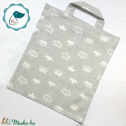 Szatyor - korona mintás - bevásárló táska  - egyedi bevásárló szatyor - textil szatyor - mosható szatyor - táska & tok - bevásárlás & shopper táska - shopper, textiltáska, szatyor - Meska.hu