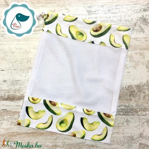 Zöldség avokádó mintás zsák - bevásárló textil zsák  - újra hasznósítható zsák - újra zacskó - zöldség gyümölcs zsák - Meska.hu