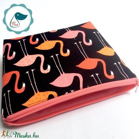 Egyedi prémium flamingó mintás nagy neszesszer - táska ki egészítő - tároló  - Meska.hu