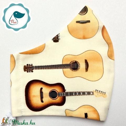 Egyedi- gitáros maszk -  ptémium férfi mosható szájmaszk - textil szájmaszk - egészségügyi szájmaszk - Meska.hu