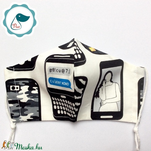 Egyedi mobil telefono maszk - kiskamasz arcmaszk - prémium textil szájmaszk - egészségügyi szájmaszk - mosható szájmaszk - Meska.hu