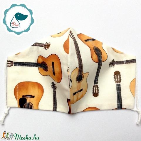 Egyedi gitáros maszk - felnőtt női és teenager maszk - textil szájmaszk - egészségügyi szájmaszk - Meska.hu