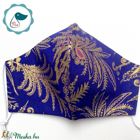 Egyedi exluziv arany,mintás textil - felnőtt női és teenager arcmaszk - keleti motívumok - egészségügyi szájmaszk - Meska.hu