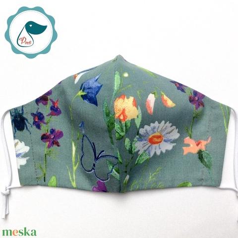 Egyedi pillangó - mező virágai mintás maszk- felnőtt női és teenager maszk - textil szájmaszk - egészségügyi szájmaszk - Meska.hu