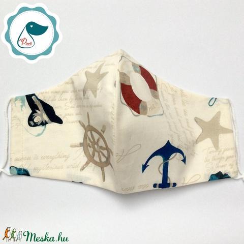 Egyedi arcmaszk - tengerészes mintás férfi maszk - textil szájmaszk - egészségügyi szájmaszk - mosható szájmaszk - Meska.hu