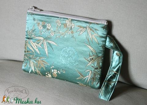 Kínai selyem kistáska, színházi táska, mentazöld leveles (PipacsVilagOm) - Meska.hu