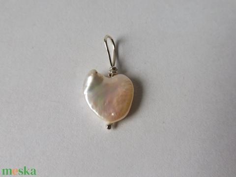 ezüst gyöngy szív medál  - ékszer - nyaklánc - medál - Meska.hu