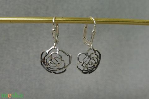 ezüst áttört rózsás fülbevaló - Meska.hu