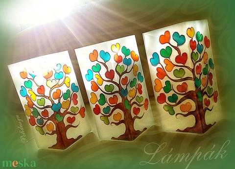 Lámpa - festett üveg éltfás asztali lámpa ballagásra, a gyerekek neveivel (polidesign) - Meska.hu