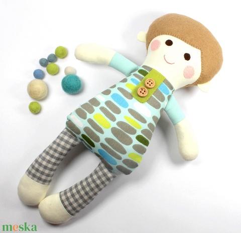 Alvó Kisfiú Baba Organikus Textilbaba, Játékbaba, Textil baba, Textiljáték, Rongybaba - Kék Zöld Mintás Dani (poppydolls) - Meska.hu