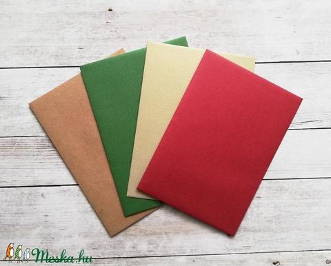Vintage, retro karácsonyi képeslap, névreszóló, borítékkal, piros autós adventi üdvözlőlap, újévi köszöntés (Postabea) - Meska.hu