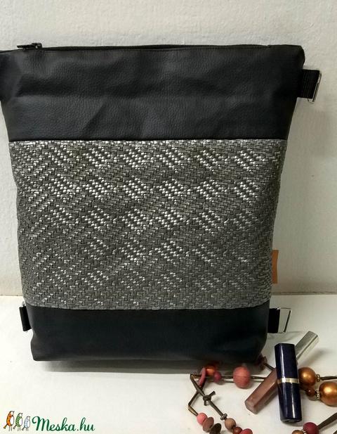 Fekete kétfunkciós textilbőr táska (rebarberbag) Meska.hu