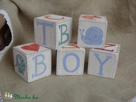 Fa kocka betűkkel  -dekoráció -  - Meska.hu