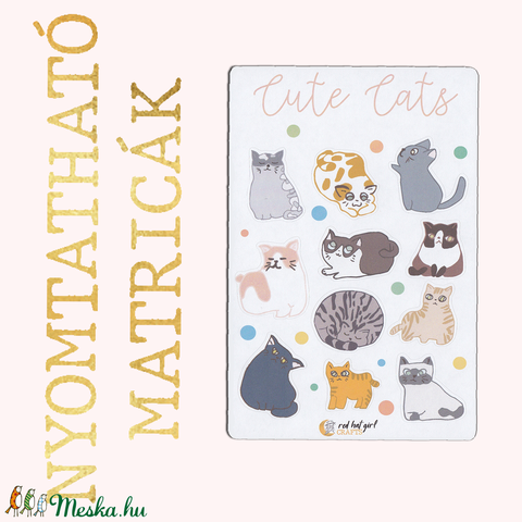 Nyomtatható Cuki Cicás Cute Cats Matricák Bullet Journal Matricák Határidőnapló Matricák - Meska.hu