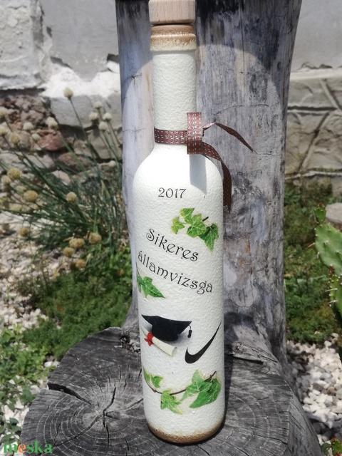 Transzferált italos üveg, egyedi felirattal. :-) - Meska.hu