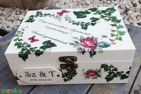 Esküvői ajándékdoboz, 14 db feliratos kővel. :-) - Meska.hu