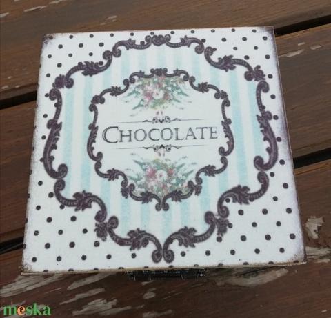 Csokis-teás doboz, egyedi mintával transzferálva.  :-) - Meska.hu