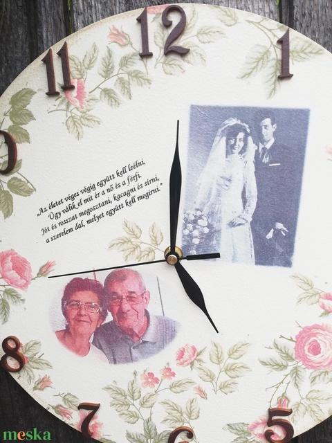 Akkor és most. Falióra házassági évfordulóra, egyedi fotóval, felirattal:-) - Meska.hu